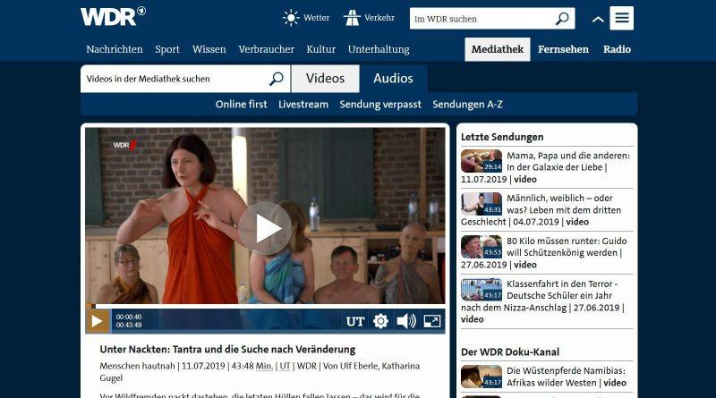 """Screenshot WDR-Mediathek WDR-Doku """"Unter Nackten"""" Tantramassage-Seminar"""